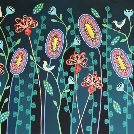 (CreativeWork) Blooming Nightfall by Lisa Frances Judd. Acrylic Paint. Shop online at Bluethumb.