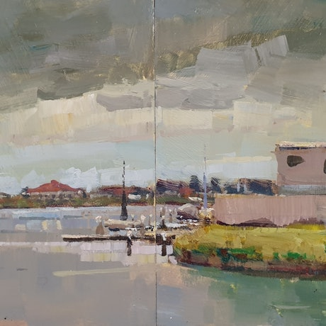 (CreativeWork) Storm approaching in Newport  by Minhan Cho. Oil Paint. Shop online at Bluethumb.