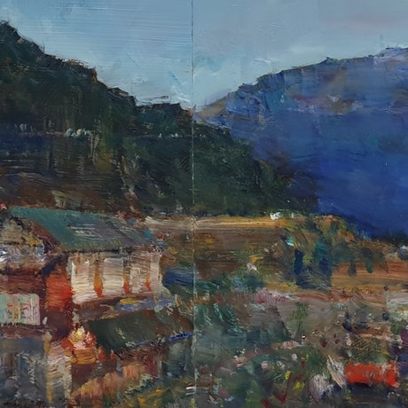 (CreativeWork) Dawn in Himalayas  by Minhan Cho. Oil Paint. Shop online at Bluethumb.