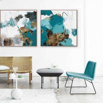 (CreativeWork) Ilaria - square, teal grey gold abstract by Stephanie Laine. Acrylic Paint. Shop online at Bluethumb.