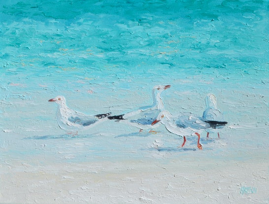 (CreativeWork) SEAGULLS - A MEETING OF MINDS by Jan Matson. Oil Paint. Shop online at Bluethumb.