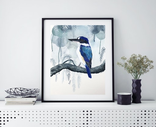 (CreativeWork) Peppertree Forest Kingfisher by Sally Browne. Watercolour Paint. Shop online at Bluethumb.