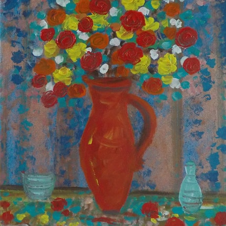 "(CreativeWork)  ""Flowers in an old wine jug"" by Catherine Walker. Acrylic Paint. Shop online at Bluethumb."