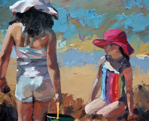(CreativeWork) Sandcastles IX by Claire McCall. Oil Paint. Shop online at Bluethumb.