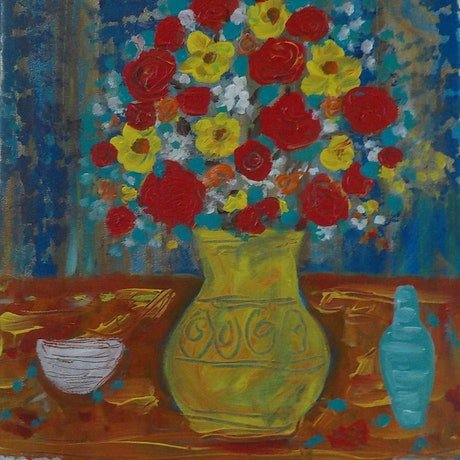 """(CreativeWork) """"Flowers in a yellow vase"""" by Catherine Walker. Acrylic Paint. Shop online at Bluethumb."""