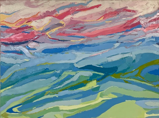 (CreativeWork) Sunset over water by Anna Webster. Oil Paint. Shop online at Bluethumb.