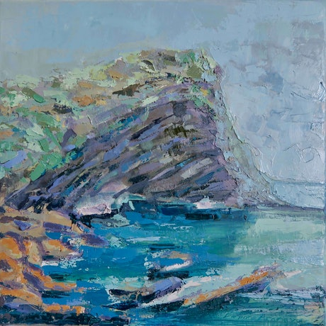 (CreativeWork) Rocky Headland - framed by Barbara Aroney. Oil Paint. Shop online at Bluethumb.