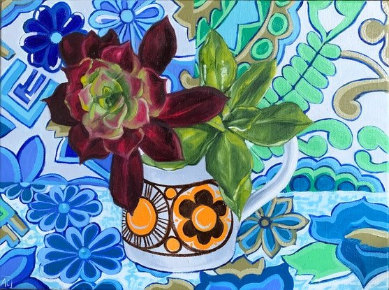 (CreativeWork) Orange Succulents and the Retro Barkcloth by Alicia Cornwell. Oil Paint. Shop online at Bluethumb.
