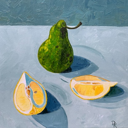 (CreativeWork) Conference Pear & Lemon Wedges by Dominika Keller. Acrylic Paint. Shop online at Bluethumb.