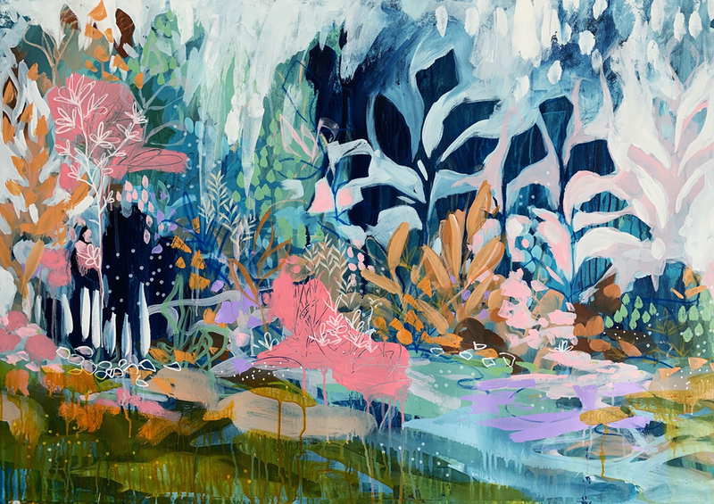 (CreativeWork) Soft Rain by Clair Bremner. Acrylic Paint. Shop online at Bluethumb.