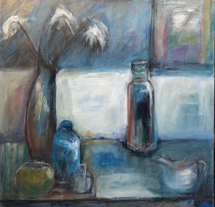 (CreativeWork) BLUE STILL LIFE by Maureen Finck. Mixed Media. Shop online at Bluethumb.
