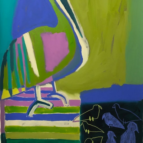 (CreativeWork) Pelican with Boardwalk  by Margo Carlon. Other Media. Shop online at Bluethumb.