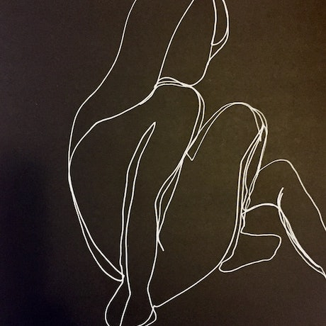 (CreativeWork) Female nude sitting  - White Ink  on high quality black paper-Framed     by Phil Herbison. Drawings. Shop online at Bluethumb.