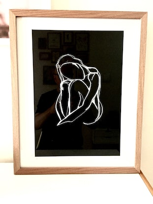 (CreativeWork) Female nude sitting 2  - White Ink  on high quality black paper-Framed     by Phil Herbison. Drawings. Shop online at Bluethumb.