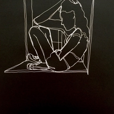 (CreativeWork) Girl  in window   - White Ink  on high quality black paper-Framed    by Phil Herbison. Drawings. Shop online at Bluethumb.