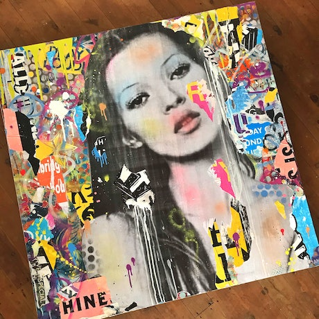 (CreativeWork) Street Icon 200 - Kate Moss by Cold Ghost. Mixed Media. Shop online at Bluethumb.