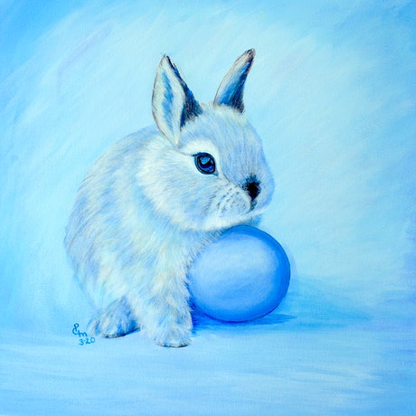(CreativeWork) Easter Bunny - BLUE by Priya Gore. Acrylic Paint. Shop online at Bluethumb.