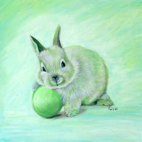 (CreativeWork) Easter Bunny - GREEN by Priya Gore. Acrylic Paint. Shop online at Bluethumb.