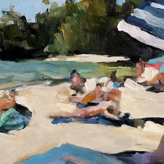 (CreativeWork) Cobblers Beach Sydney by Ray Saunderson. Oil Paint. Shop online at Bluethumb.
