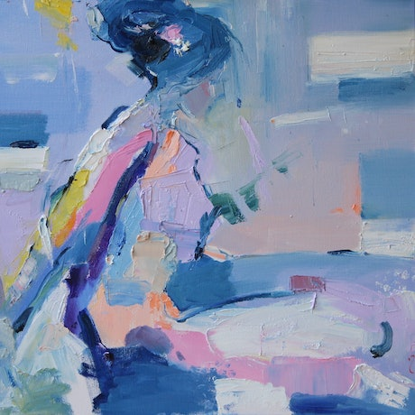 (CreativeWork) French Blue  5 by Li Zhou. Oil Paint. Shop online at Bluethumb.