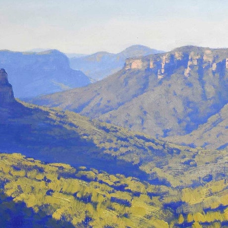 (CreativeWork) View across the Grose  valley by Graham Gercken. Oil Paint. Shop online at Bluethumb.