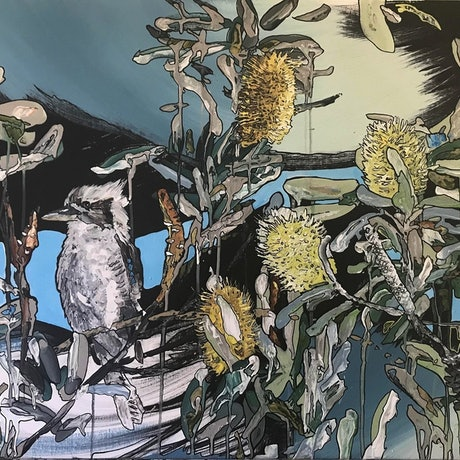 (CreativeWork) Kookaburra with banksia blue by Kirsten Button. Acrylic Paint. Shop online at Bluethumb.