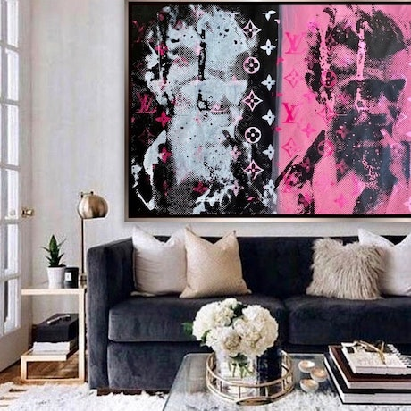 (CreativeWork) James Dean Blue Pink & Black  by Shane Bowden. Acrylic Paint. Shop online at Bluethumb.