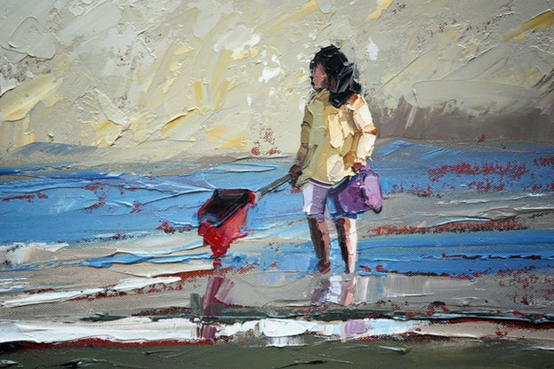 (CreativeWork) Girl In Yellow by Claire McCall. Oil Paint. Shop online at Bluethumb.