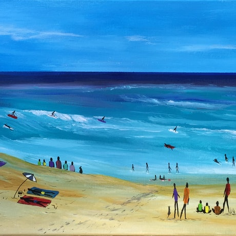 (CreativeWork) COMMUNITY- DAY AT THE BEACH by Pongillj Miller. Acrylic Paint. Shop online at Bluethumb.