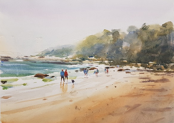(CreativeWork) Beach Walkers by Chan Dissanayake. Watercolour Paint. Shop online at Bluethumb.
