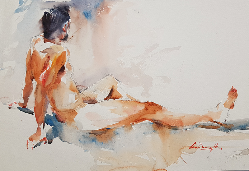 (CreativeWork) Male Nude by Chan Dissanayake. Watercolour Paint. Shop online at Bluethumb.