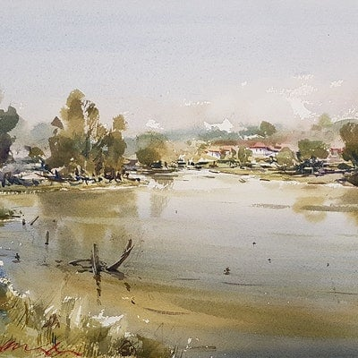 (CreativeWork) River Reflections by Chan Dissanayake. Watercolour Paint. Shop online at Bluethumb.