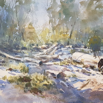 (CreativeWork) Snow Logs by Chan Dissanayake. Watercolour Paint. Shop online at Bluethumb.