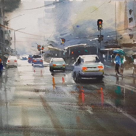 (CreativeWork) Wet Day Melbourne by Chan Dissanayake. Watercolour Paint. Shop online at Bluethumb.
