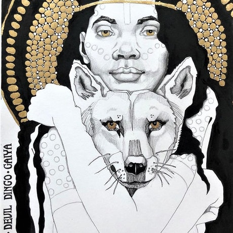 (CreativeWork) Gaiya - Devil Dingo by Wilna ten Cate. Mixed Media. Shop online at Bluethumb.
