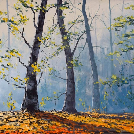 (CreativeWork) Forest light by Graham Gercken. Oil Paint. Shop online at Bluethumb.