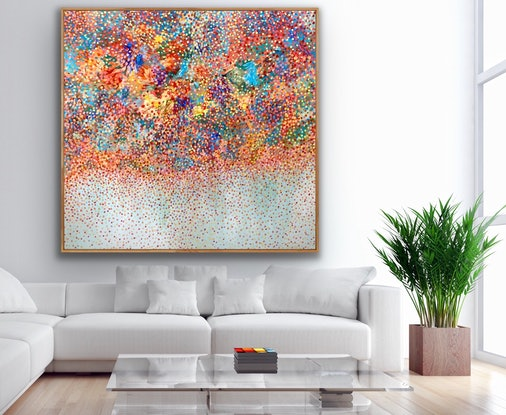 (CreativeWork) Weeping Cherry Petals  Framed in Oak by Theo Papathomas. Acrylic Paint. Shop online at Bluethumb.
