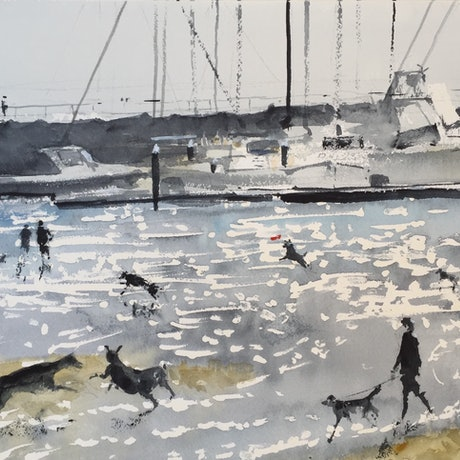 (CreativeWork) Dog Day Afternoon II by Bernd Rieve. Watercolour Paint. Shop online at Bluethumb.