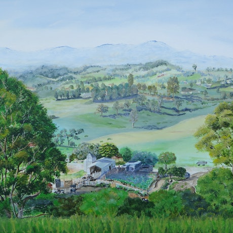 (CreativeWork) Misty Morning in the Bega Valley by Monika Scheffler. Mixed Media. Shop online at Bluethumb.