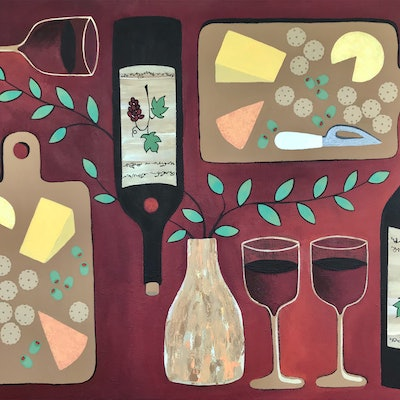 (CreativeWork) Wine  O Clock by Lisa Frances Judd. Acrylic Paint. Shop online at Bluethumb.