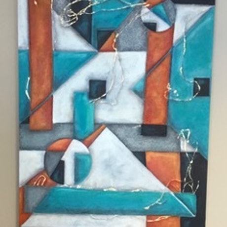 (CreativeWork) Pyramids by Mary Foster. Oil Paint. Shop online at Bluethumb.
