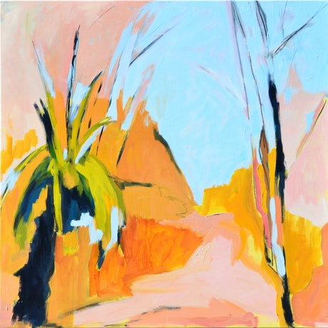 (CreativeWork) Grass trees in the sun - I by Lydie Paton. Oil Paint. Shop online at Bluethumb.