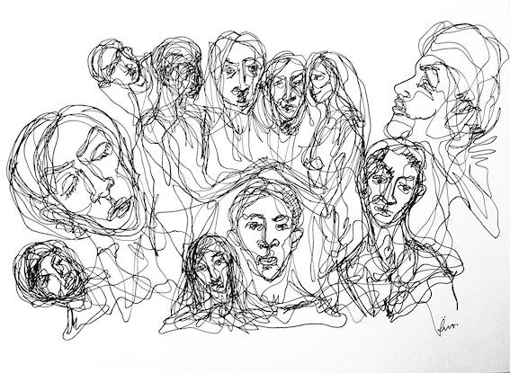(CreativeWork) Togetherness I by Irma Calabrese. Drawing. Shop online at Bluethumb.