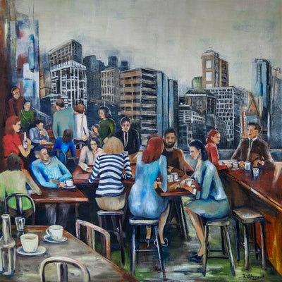 (CreativeWork) Melbourne City Cafe Society by Rosa d'Argent. Mixed Media. Shop online at Bluethumb.