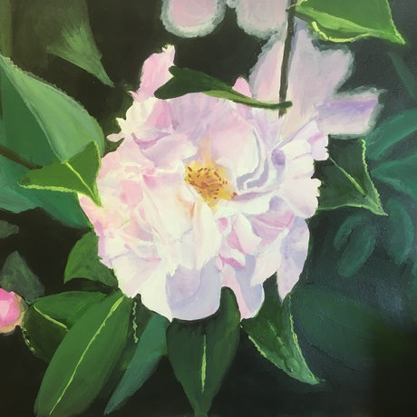 (CreativeWork) A peony flower by Reina Muller. Acrylic Paint. Shop online at Bluethumb.