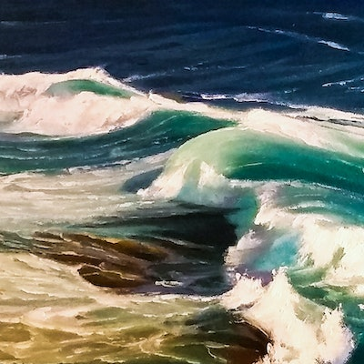 (CreativeWork) Wave of Desire  by Colin Madgwick. Oil Paint. Shop online at Bluethumb.