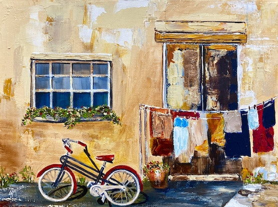 (CreativeWork) Red Bicycle  by Julie Dynan. Acrylic Paint. Shop online at Bluethumb.
