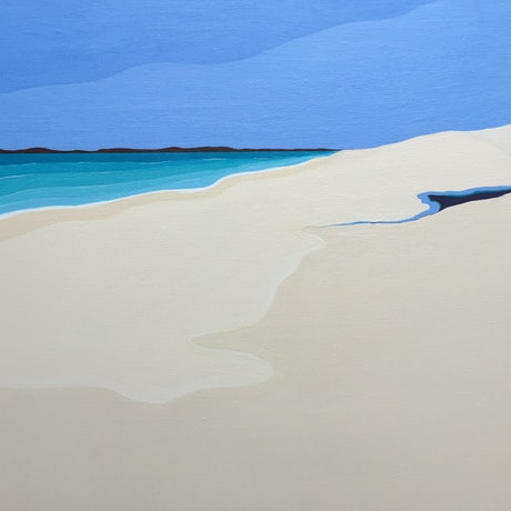 (CreativeWork) White Beach  by Marian Quigley. Acrylic Paint. Shop online at Bluethumb.