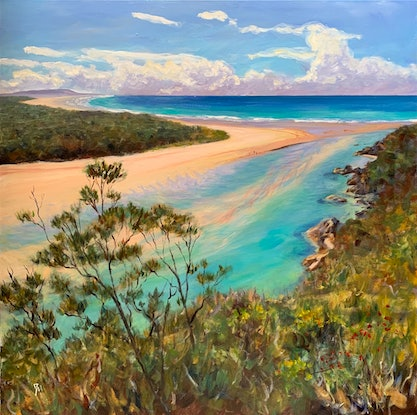 (CreativeWork) A sunny day at the beach by Shelly Du. Acrylic Paint. Shop online at Bluethumb.