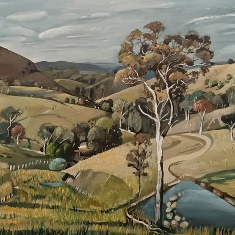 (CreativeWork) Australian  landscape - Rural Dream by Susan Trudinger. Acrylic Paint. Shop online at Bluethumb.